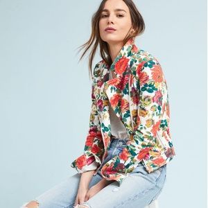 Anthropologie Pilcro Floral-Printed Moto Jacket